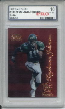1996 Select Certified Red #105 Keyshawn Johnson Parallel RC Graded Gem Mint 10