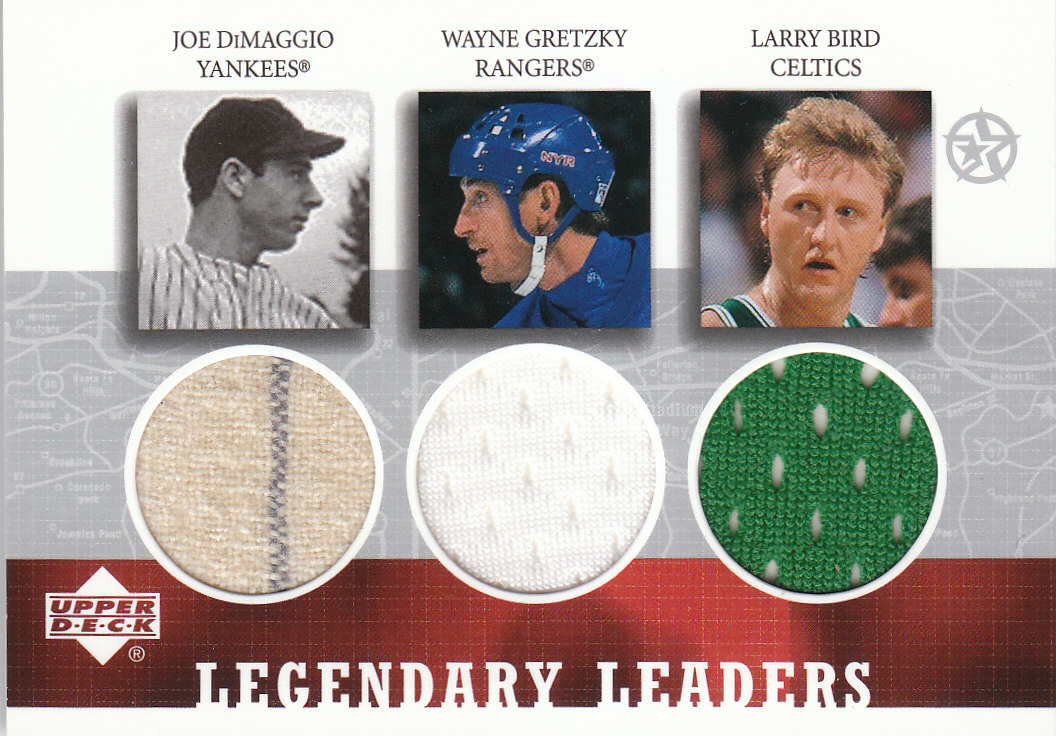 2002-03 UD SuperStars Legendary Leaders Triple Jersey #JWL DiMaggio/Gretzky/Bird front image