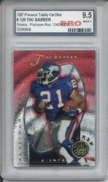 1997 Pinnacle Totally Certified Platinum Red #129 Tiki Barber RC Graded Mint+ 9.5