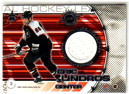 2000-01 Vanguard Dual Game-Worn Jerseys #3 Joe Sakic/Eric Lindros/250
