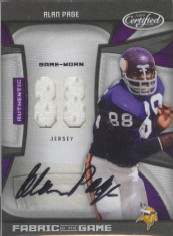 2009 Certified Fabric of the Game Jersey Number Autographs #5 Alan Page/25
