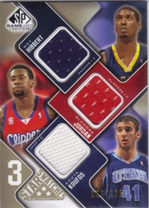 2009-10 SP Game Used 3 Star Swatches 125 #3SHJK DeAndre Jordan/Roy Hibbert/Kosta Koufos