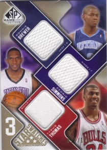 2009-10 SP Game Used 3 Star Swatches 125 #3STBS Tyrus Thomas/Ronnie Brewer/Cedric Simmons