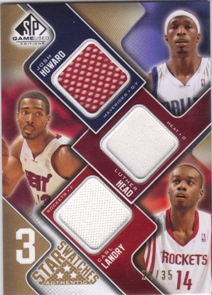 2009-10 SP Game Used 3 Star Swatches 35 #3SHHL Luther Head/Carl Landry/Josh Howard