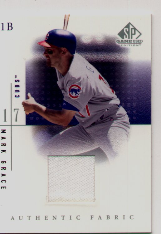 2001 SP Gamed Used Edition Jersey #MG, Mark Grace, mint, $30.00
