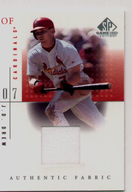 2001 SP Gamed Used Edition Jersey #JDr, J. D. Drew, mint, $30.00