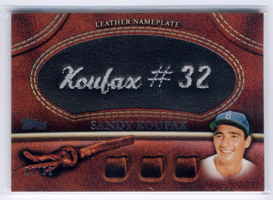2011 Topps Glove Manufactured Leather Nameplates Black #SK Sandy Koufax S2