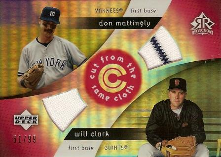 2005 Reflections Cut From the Same Cloth Dual Jersey Red #MC Don Mattingly/Will Clark