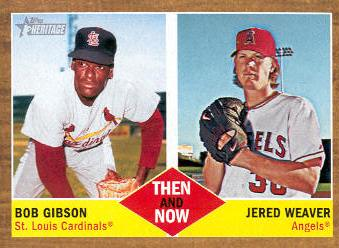 2011 Topps Heritage Then and Now #TN7 Bob Gibson/Jered Weaver