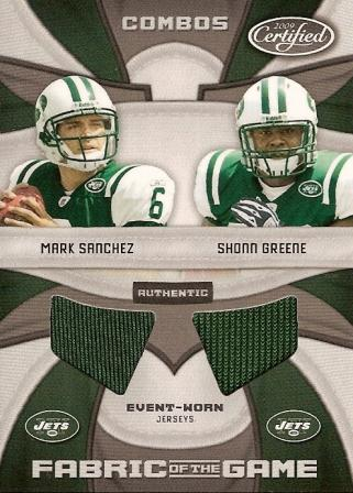 2009 Certified Rookie Fabric of the Game Combos #4 Mark Sanchez/Shonn Greene
