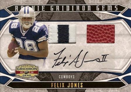2008 Donruss Gridiron Gear Rookie Gridiron Gems Jerseys Combos Autographs Prime #214 Felix Jones