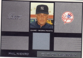 2003 Flair Greats Cut of History Game Used #18 Phil Niekro Pants