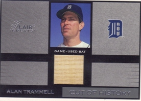 2003 Flair Greats Cut of History Game Used #24A Alan Trammell Bat