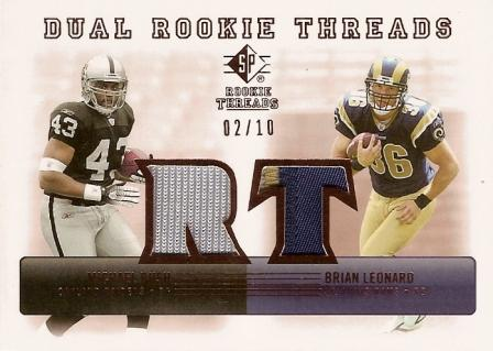 2007 SP Rookie Threads Rookie Threads Dual Bronze Patch #LB Brian Leonard/Michael Bush