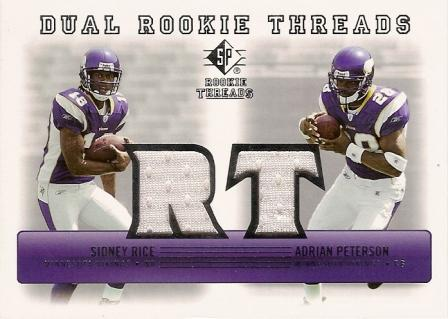 2007 SP Rookie Threads Rookie Threads Dual #PR Adrian Peterson/Sidney Rice