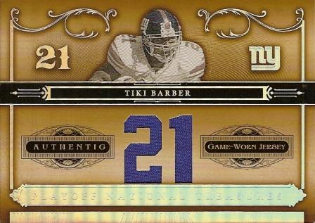2006 Playoff National Treasures Material Jersey Numbers #33 Tiki Barber/21