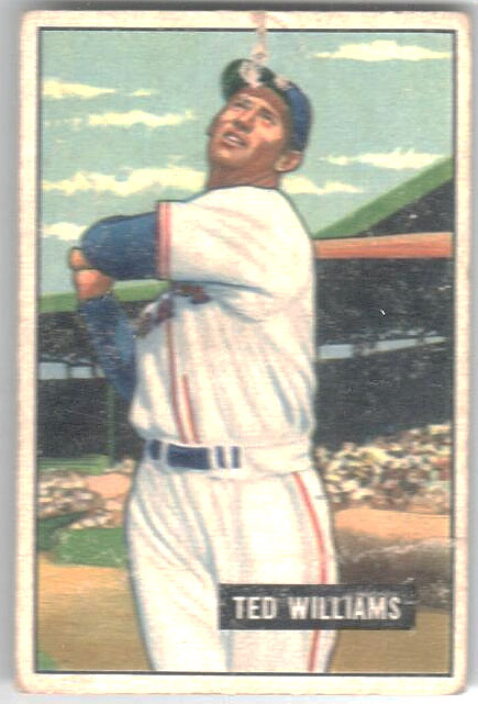 1951 Bowman #165 Ted Williams UER/Wrong birthdate