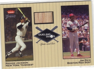 2002 Greats of the Game Dueling Duos Game Used Single #RJ2 Reggie Jackson Bat/Jim Rice