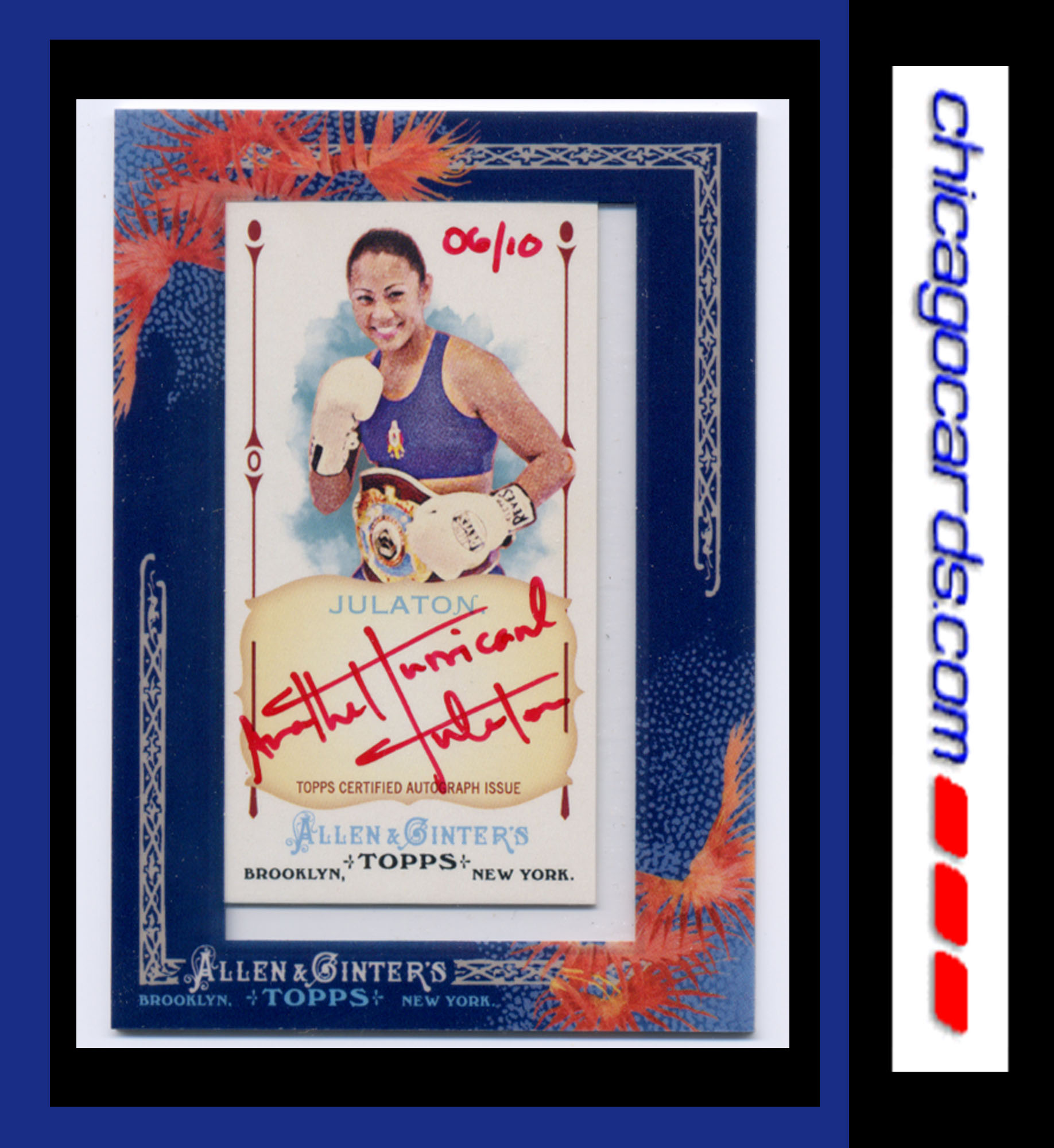 2011 Topps Allen and Ginter Autographs Red Ink #AJU Ana Julaton front image