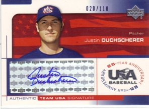 2004 USA Baseball 25th Anniversary Signatures Blue Ink #DUCH Justin Duchscherer/110