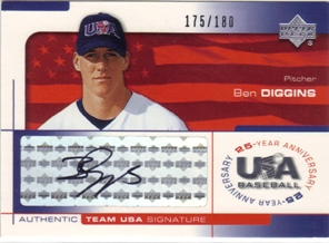 2004 USA Baseball 25th Anniversary Signatures Black Ink #DIG Ben Diggins/180