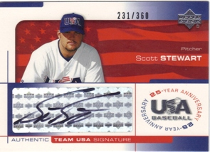 2004 USA Baseball 25th Anniversary Signatures Black Ink #STEW Scott Stewart/360