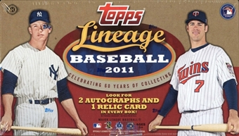 3 BOX LOT : 2011 Topps Lineage Baseball Factory Sealed Hobby Series Box With 2 AUTOGRAPHS & 1 Relic Card Per Box - In Stock