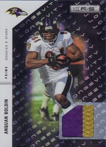 2011 Rookies and Stars Materials Black Prime Longevity #10 Anquan Boldin/50