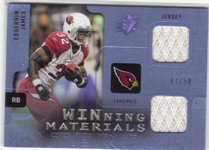 2009 SPx Winning Materials Blue Dual Swatch #WEJ Edgerrin James