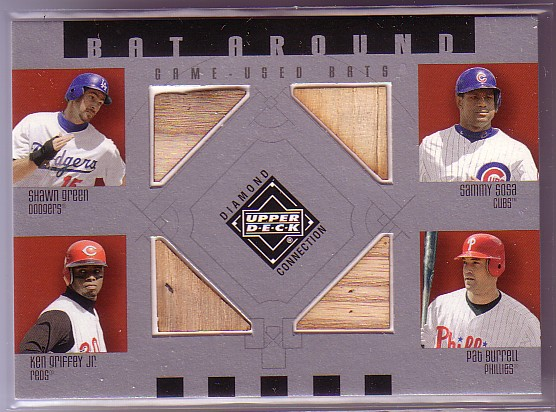 2002 Upper Deck Diamond Connection Bat Around Quads #GSGB Green/Sosa/Grif/Burrell