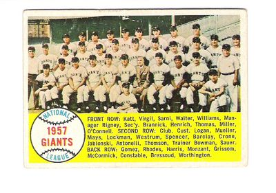 1958 Topps #19 San Francisco Giants TC front image