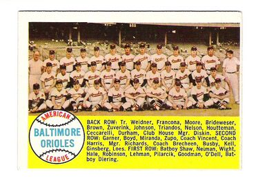 1958 Topps #408A Baltimore Orioles TC/Alphabetical