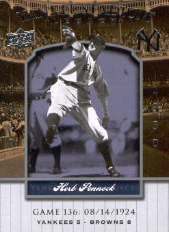 2008 Upper Deck Yankee Stadium Legacy Collection #136 Herb Pennock