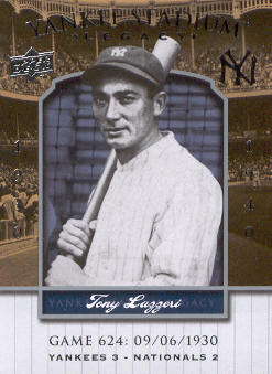 2008 Upper Deck Yankee Stadium Legacy Collection #624 Tony Lazzeri
