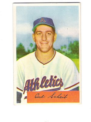 1954 Bowman #67A Carl Scheib .306 Pct. Two Lines under Bio