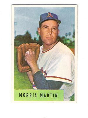 1954 Bowman #179B Morris Martin 4.44 ERA