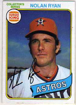 1980 Burger King Pitch/Hit/Run #9 Nolan Ryan */Houston Astros front image