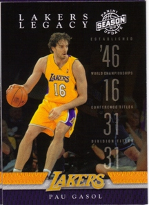 2009-10 Panini Season Update Lakers Legacy #4 Pau Gasol