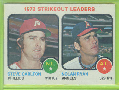 1973 Topps #67 Strikeout Leaders/Steve Carlton/Nolan Ryan