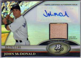 2011 Bowman Platinum Relic Autograph Refractors #JM John McDonald/1166