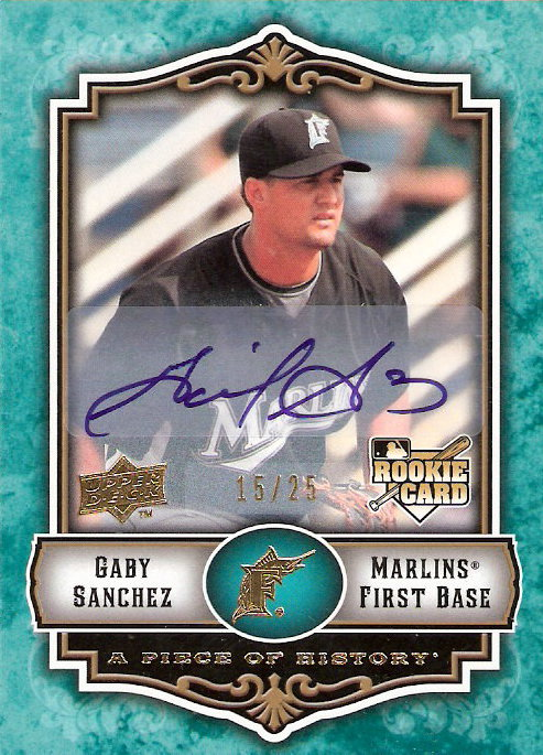 2009 UD A Piece of History Rookie Autographs Green #148 Gaby Sanchez
