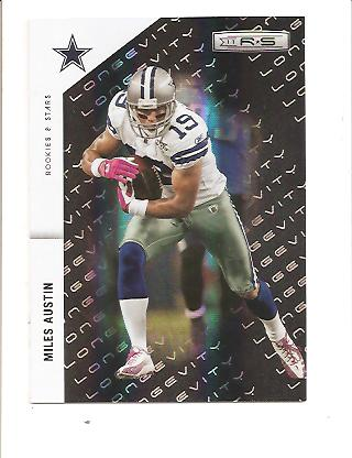 2011 Rookies and Stars Materials Emerald Prime Longevity #41 Miles Austin/99