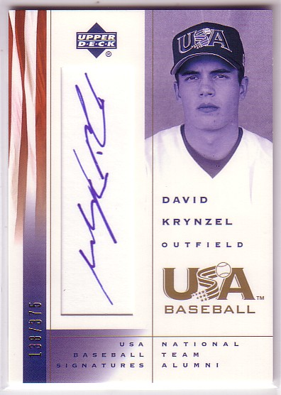2002 USA Baseball National Team Signatures #DK David Krynzel
