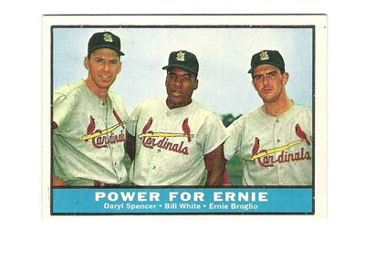 1961 Topps #451 Power for Ernie/Daryl Spencer/Bill White/Ernie Broglio