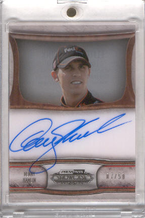 2011 Press Pass Showcase Elite Exhibit Ink #EEIDH Denny Hamlin