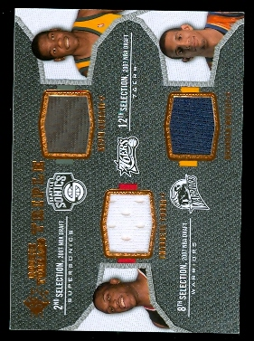 2007-08 SP Rookie Threads Rookie Threads Triple #DYW Kevin Durant/Thaddeus Young/Brandan Wright