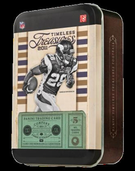 3 BOX LOT : 2011 Panini Timeless Treasures Football Factory Sealed Hobby Tin Box With 3 Autograph Or Memorabilia Cards Per Box - Possible Cam Newton Adrian Peterson - WEEKLY SPECIAL - In Stock