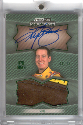 2010 Press Pass Showcase Prized Pieces Memorabilia Ink Green #PPIKB2 Kyle Busch Shoe