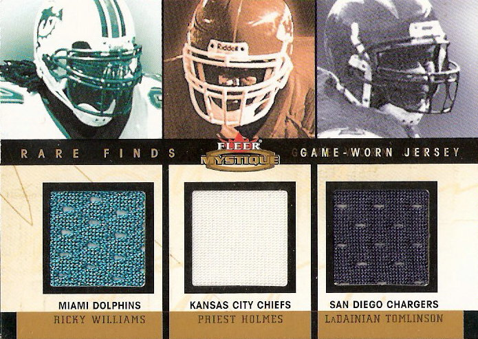 2003 Fleer Mystique Rare Finds Jersey Triples #RWPHLT Ricky Williams/Priest Holmes/LaDainian Tomlinson
