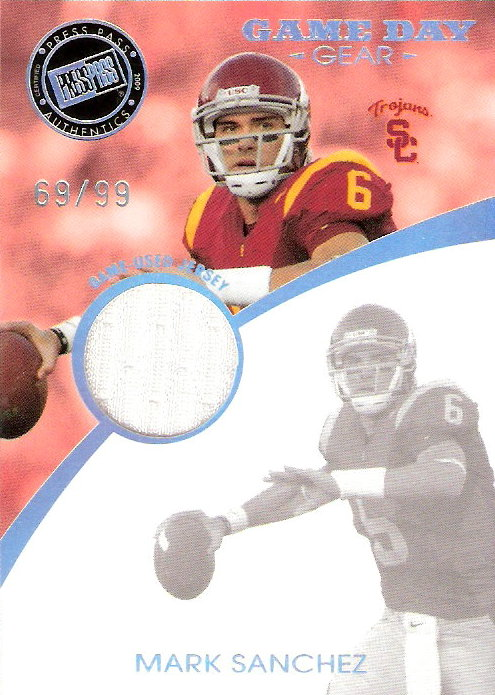 2009 Press Pass SE Game Day Gear Jerseys Holofoil #GDGMS Mark Sanchez